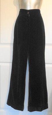 Vintage 70s Black Velveteen Bellbottom Disco Pants Cuffed W28 Size 12