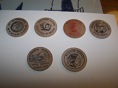 Six Vintage Wooden Nickels