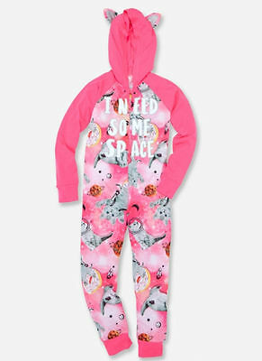 Nwt Justice Hooded Sweet Space Kitty Cat One Piece Pajamas Sleeper Girls Sz 6 7