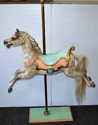 Carousel Horse Wood Hand Painted Horse Hair Tail Pastel Colors Brass Pole/Stand