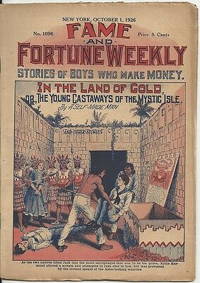 1926 Issue Of Fame And Fortune Weekly Pulp Magazine #1096
