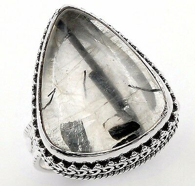 Black Rutilated Quartz 925 Solid Sterling Silver Ring Jewelry Sz 8.5 S6-1