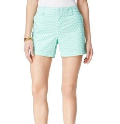 Tommy Hilfiger NEW Green Women's Size 10 Printed Front-Tab Shorts $49 #361