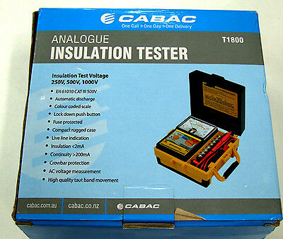 In Box Cabac T1800 Analogue Insulation Tester - 250V 500V & 1000V Range
