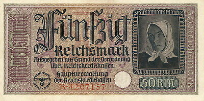 Currency Germany 1939 WWII 3rd Reich Nazi Era Riechsmark Funfzig 50 Circulated