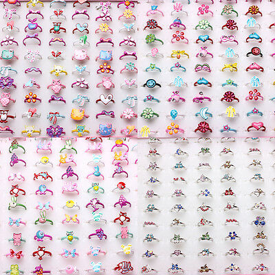 Wholesale Mixed Crystal Metal Silver Gold Cartoon Animals Flowers Children Rings