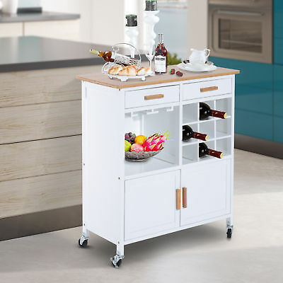 HOMCOM Wood Rolling Kitchen Cart Serving Utility Trolley Bamboo Top Portable