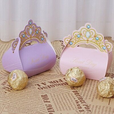 50Pcs Crown Candy Boxes Bags for Wedding Birthday Party Baby Shower Favor Gift