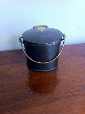 LOVELY OLD DECORATIVE STEEL & BRASS MILK CAN DAIRY SUPPLY COMPANY 3.5 inches