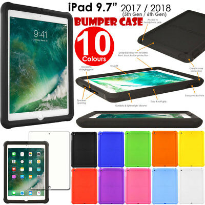 Rugged Soft Silicone Shock Proof Kids BUMPER Case for Apple iPad 9.7 2017 / 2018