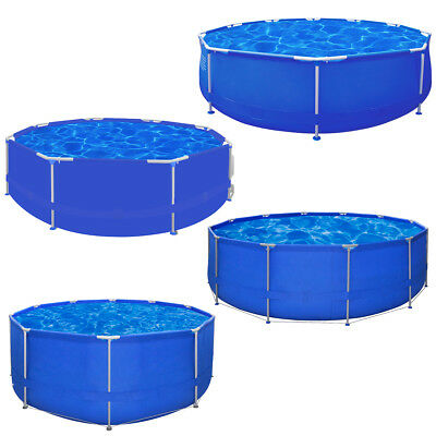 #bNew Above Ground Garden Swimming Pool Steel Frame Round Summer Fun 4 Sizes
