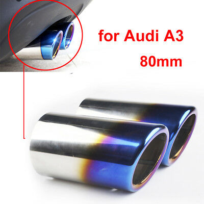2 x Blue Rear Exhaust Tailpipe Tail Pipe Trim End Muffler for Audi A3 11-14 80mm