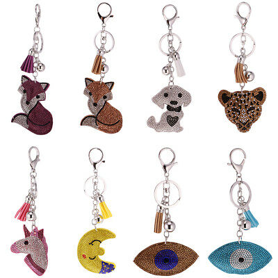 Key Chain Ring Soft Animals Eye Pendant Lobster Clasp Collectable Novelty