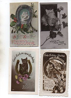22 VINTAGE GREETINGS postcards of CATS & KITTENS