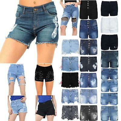 Ladies Womens Faded Raw Edges Distressed Destroyed Rip Button Denim Jean Shorts