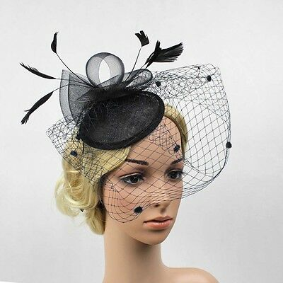 Fascinator Ladies Feather Hair Clip Topper Cocktail Wedding Party Mesh Headpiece