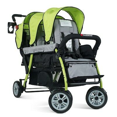 Foundations Splash of Colour Trio Sport 3 Passenger Stroller - Lime
