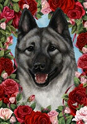 Large Indoor/Outdoor Roses Flag - Norwegian Elkhound 19403