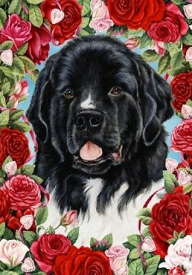 Large Indoor/Outdoor Roses Flag - Newfoundland Landseer 19224