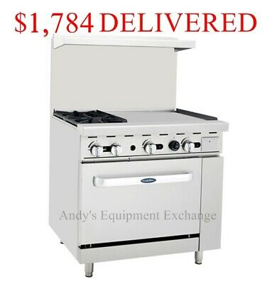 "36"" inch wide (3 foot) 2 Burner Range Top with Oven and 24"" right side Griddle"