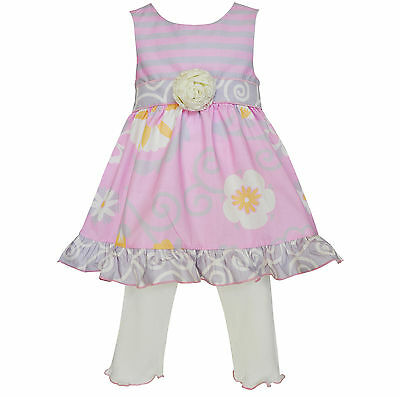 AnnLoren Little Girls 2/3T Pink & Gray Floral Dress Spring Clothing Set