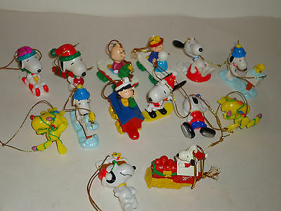 Vintage SNOOPY Charlie Brown PVC Christmas Tree Ornaments Holiday lot 14 Figures