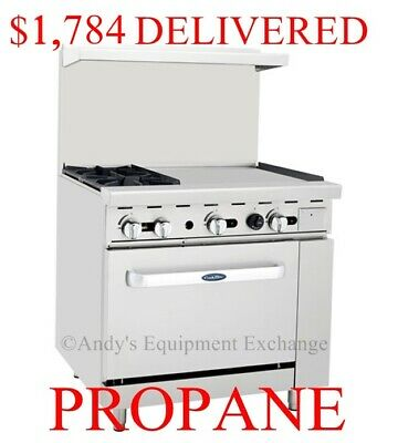 "36"" inch (3 foot) 2 Burner Range with Oven & 24"" right side Griddle Propane Gas"