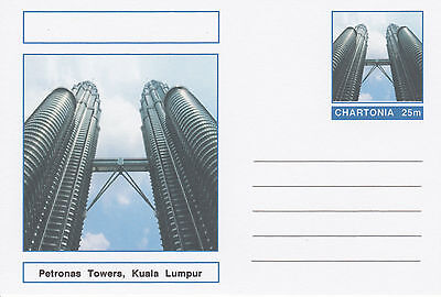 CINDERELLA - 3989 - PETRONAS TOWERS  on Fantasy Postal Stationery card