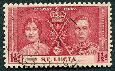 ST. LUCIA 1937 1 1/2d carmine SG126 used NG Coronation Omnibus Issue #W26