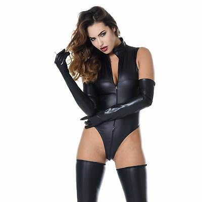 PATRICE CATANZARO Manon Wetlook Body Jumpsuit String-Body Vinyl Catsuit CLUBWEAR