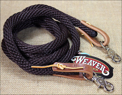 Weaver Western Tack Leather Nickle Plated Poly Roper Rein 5/8 X8 Inch