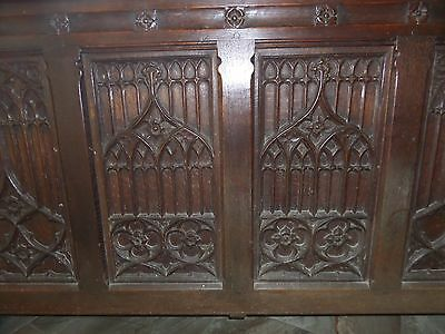 Large Antique Carved Oak Coffer Chest Gothic Tracery Panel & Saints Church
