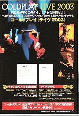COLDPLAY 2003 Tour 2-sided Japanese Flyer / mini Poster 8x6 inches