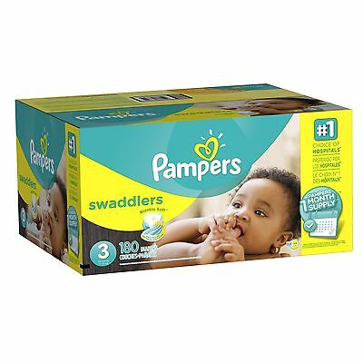 Pampers Swaddlers Diapers Size 3 180 Count New