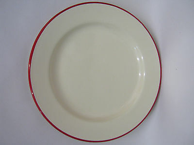 New Victor Cream Enamel Round Pie Dinner Plate Baking Dish Tin With Red Trim 22c