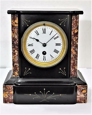 EXCELLENT ANTIQUE FRENCH BLACK SLATE & MARBLE MANTLE CLOCK GILDED INLAY 1890s
