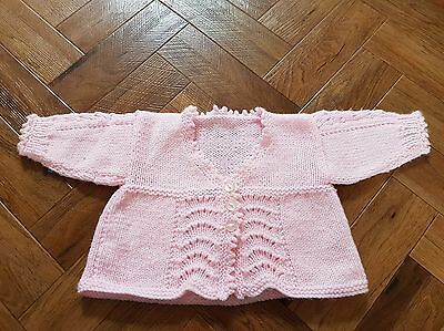 girls hand knitted cardigans age 3-6 months