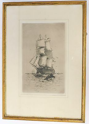 """Excellent """"H.M.S Victory"""" Antique Etching Nautical Art Print In Frame - C77"""
