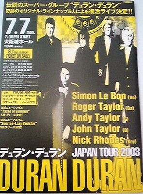 DURAN DURAN 2003 TOUR Japanese Flyer / mini Poster 10x7 inches