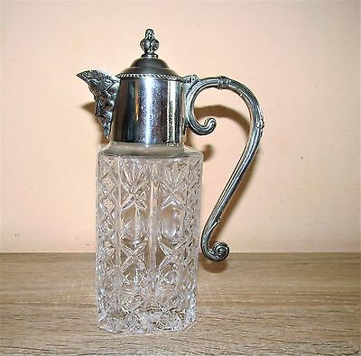 Super vintage small silver plate and cut crystal glass Spirit Jug. 20cm high.