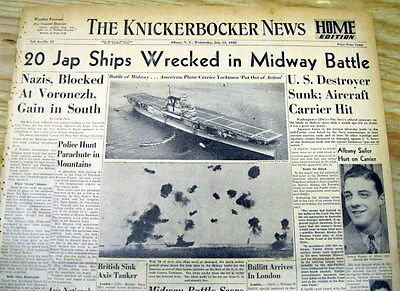 1942 WW II headline newspaper w 1st photos JAPANESE defeated at BATTLE OF MIDWAY