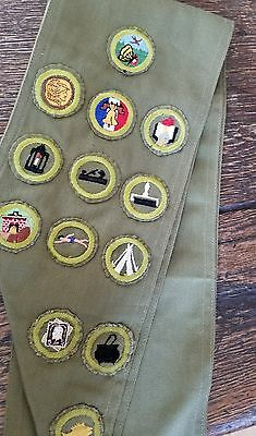 Vintage Boy Scout BSA Badge/Patch  Sash with badge merit patches