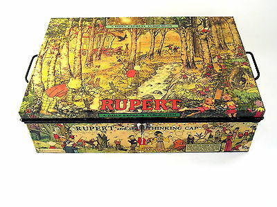 1940's Deed box Chest decoupaged with images from a vintage Rupert Annual OOAK