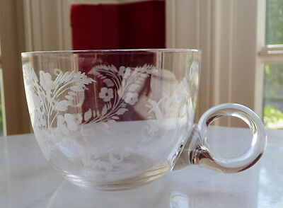 "Antique ""Saratoga 1897"" Glass Cup Etched Initials and Flowers"