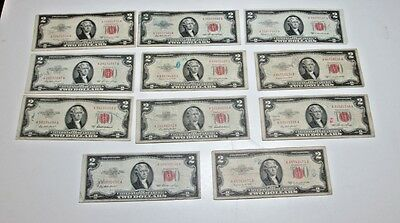 Lot of 11  $2.00 1953 red seal United States Notes