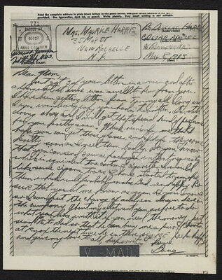 US May 8,1945  V-Mail Command, 67th Armored Regiment (Immendorf, Germany)APO 252