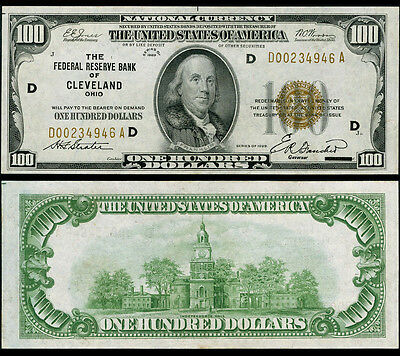 FR. 1890 D $100 1929 Federal Reserve Bank Note Cleveland Choice CU