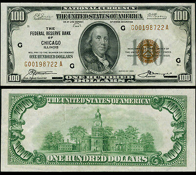 FR. 1890 G $100 1929 Federal Reserve Bank Note Chicago AU