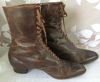 Antique Edwardian Ladies Brown Leather High Top Lace Up Shoes Boots