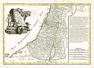 1770 Bonne Map Of Israel Palestine Holy Land  12 Tribes On Both Sides Of Jordan!